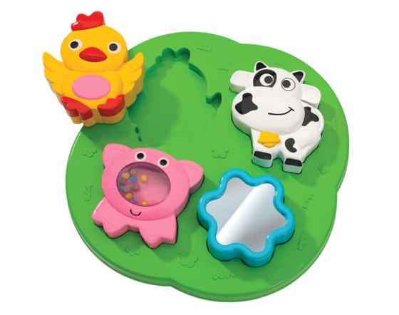 ABC Farm puzzle with Rattles for 1 year olds has visual, audio & tactile benefits